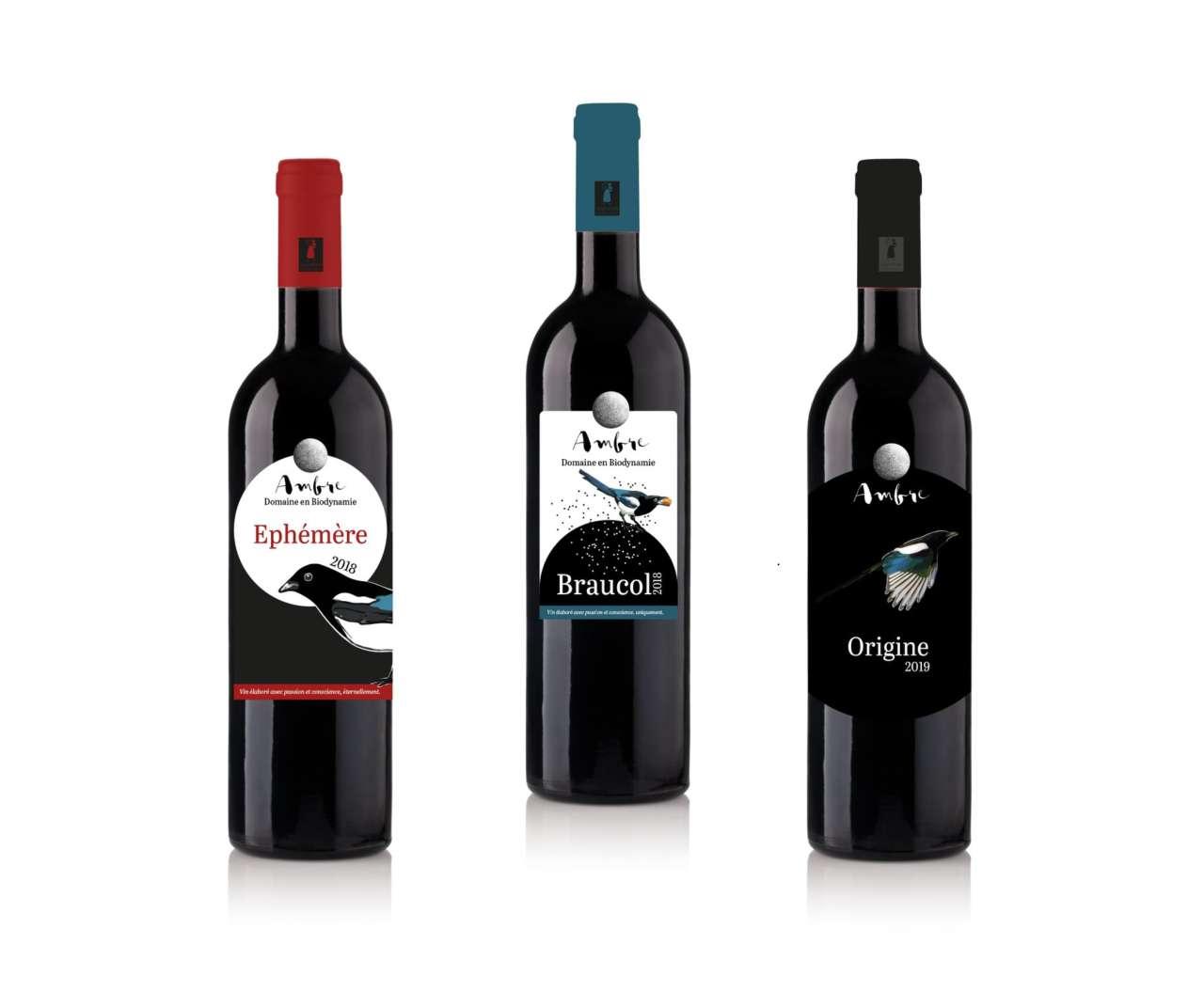 presentation communication graphique creation etiquettes gamme vin Ivre de Com